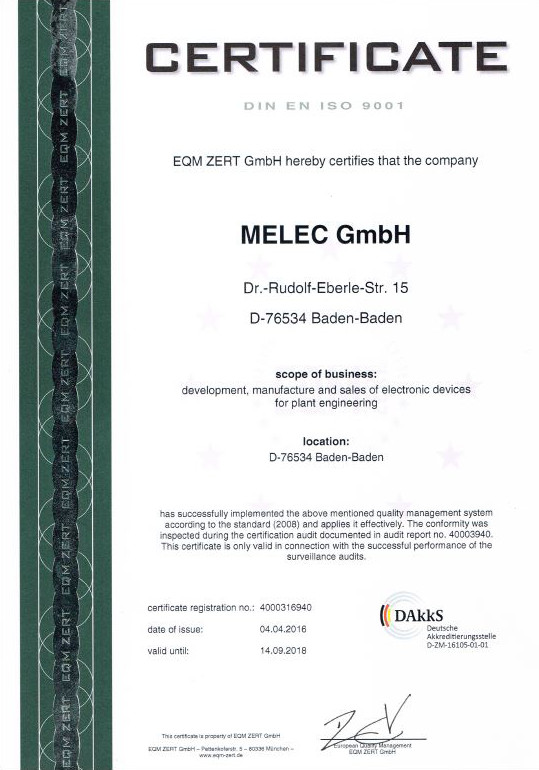 Certificate ISO90001