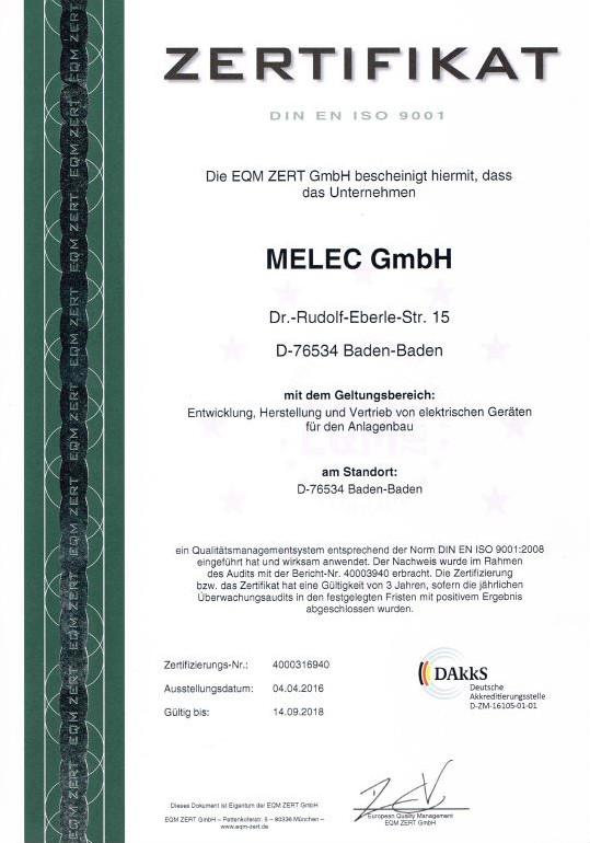 Zertifikat ISO90001